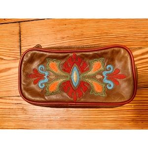 Isabella Fiore Leather Embroidered Pouch